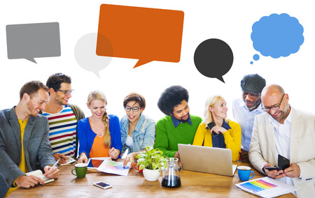 46122280 - diversity people discussion brainstorming speech bubble concept